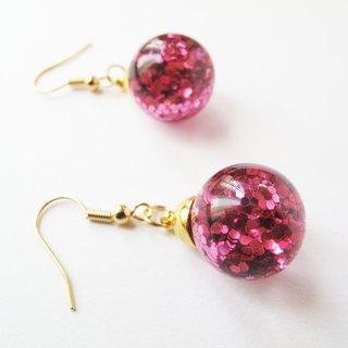 * Rosy Garden * Sweet pink glitter water inside glass ball earrings