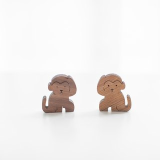 Customized Name Gift Wood Dark Shape Wood Chip - Monkey
