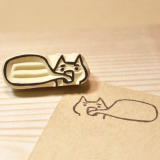 Decorative dialog box <spit soul cat> handmade rubber stamp