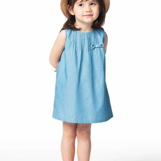 French girl crimping sleeveless dress