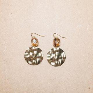 Retro Glass Gold and Silver Foil Large Wavy Round Earrings