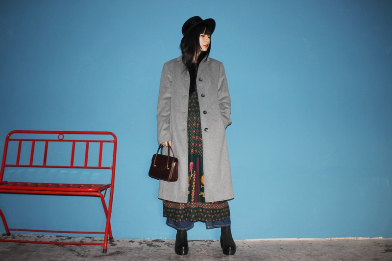 (Vintage Jacket) (Made in Italy) Gray Wool Double Pocket Long Coat Jacket F3125 (Christmas Gift Christmas Exchange Gift)