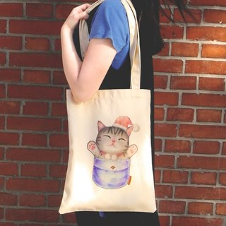 ChinChin hand-painted canvas bag cat - cat warm pocket