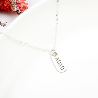 Hug Kiss XOXO stamping s925 sterling silver necklace Valentine's Day gift