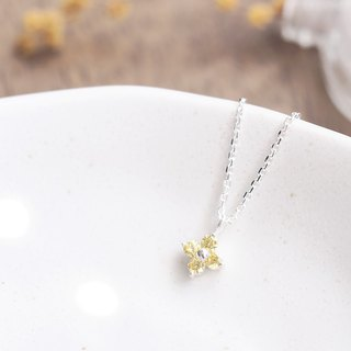 Citrine Flower Necklace Silver 925