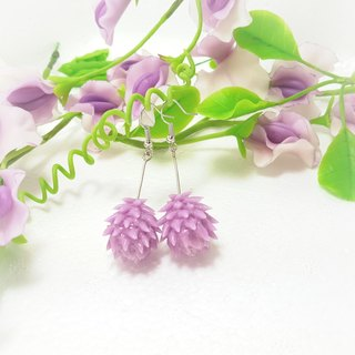 Purple onion cones ear hook earrings