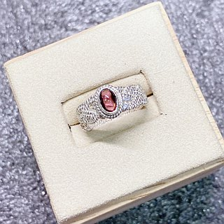 Garnet Finger Ring Handmade in Nepal 92.5% Silver
