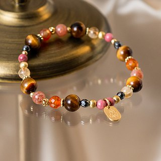 <Slow temperature natural stone> C1222 Tiger eye stone red chalcedony bracelet // Spring day warm sun