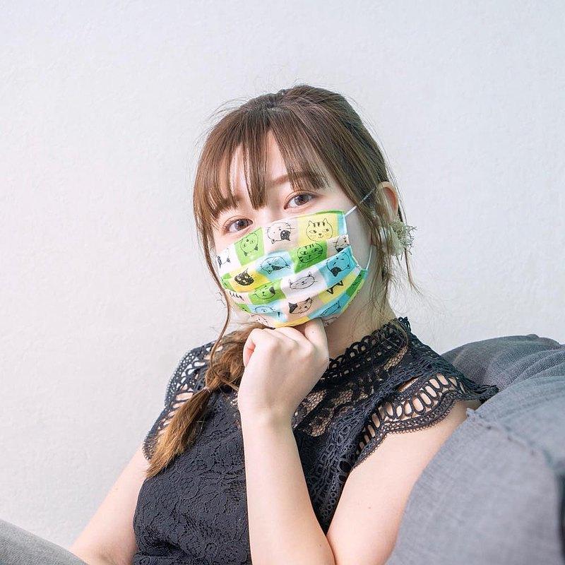猫柄 綠色 手工立體口罩 可洗滌 日本製純棉二重紗布 成人