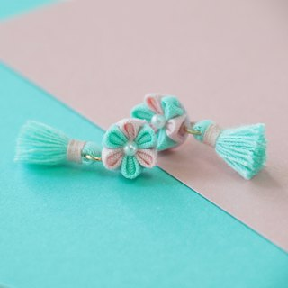 Tiffany Blue and Pink Flower and Tassel Earrings Clip-on 14KGF, S925 custom