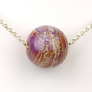 Stardust Ball Handmade Lampwork Glass Sterling Silver Necklace