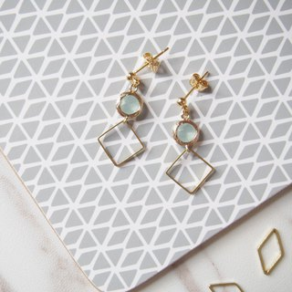 Gold-plated edging glass imitation gemstones • Brass square geometry • Alloy stud earrings