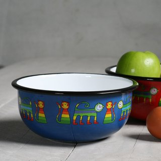 Smaltum Prague enamel soup bowl _ shy meow microphone _ blue green (FDN000469)