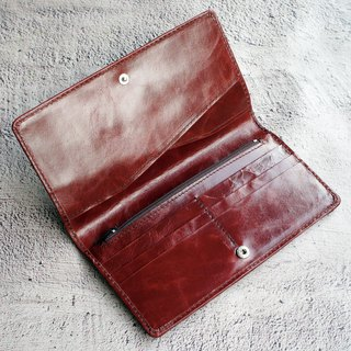 Wax Antique Leather Long Clip - Maroon 6 Card Simple Wallet Wallet Phone Bag
