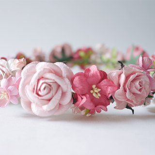 Paper Flower, Crown, Headband, Wedding, pink, soft pink, pink, pink brush white and coral Color.