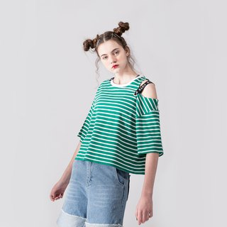 WOMENS OFF SHOULDER ROUND NECK T SHIRT / Green / White