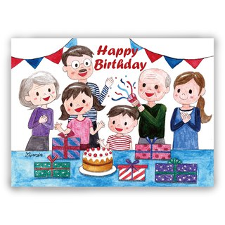 Hand-painted illustration universal card / postcard / card / illustration card - three generations of the same birthday