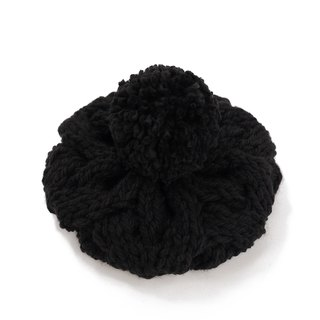 Thick needle twist detachable ball knit wool beret - black