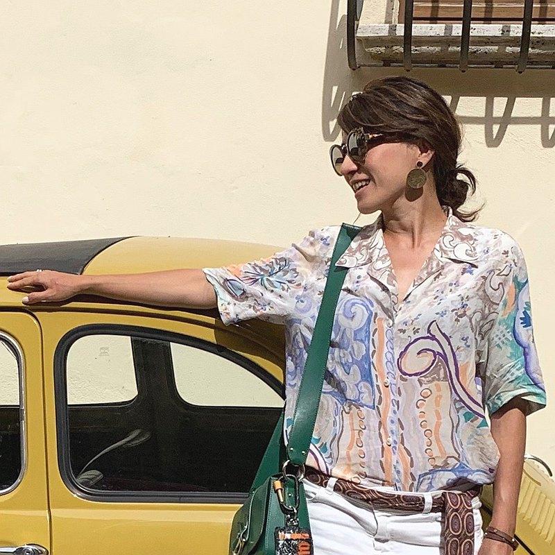 80年代義大利製絲質印花襯衫