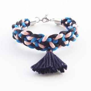 Black-blue-peach braided bracelet with tassel