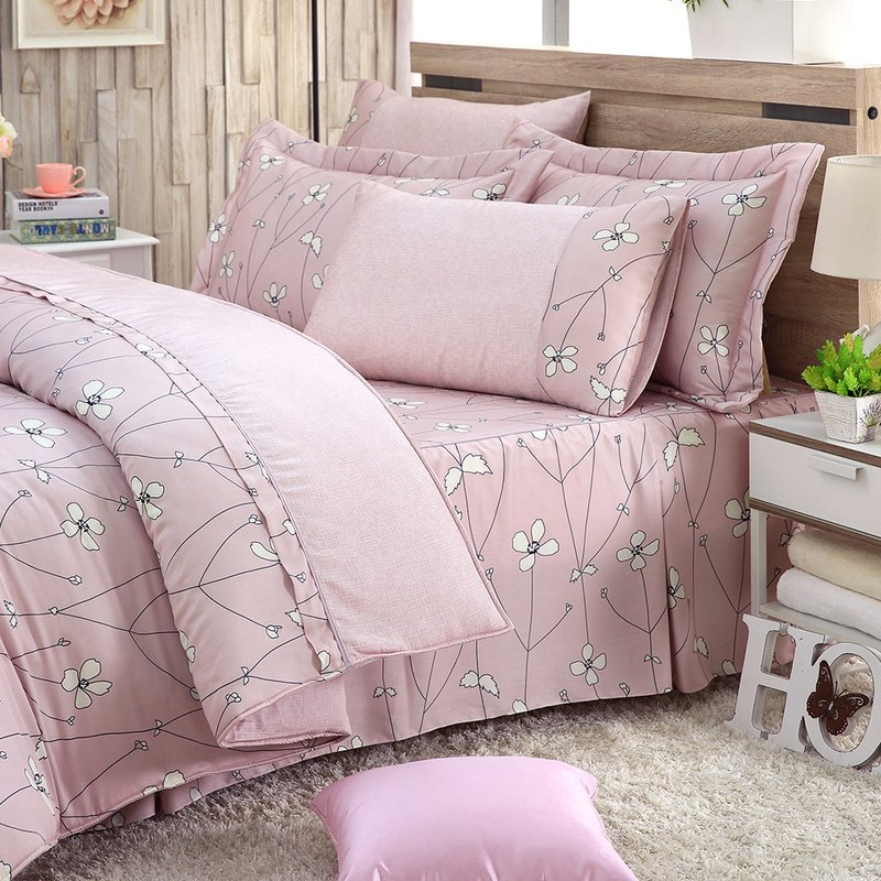 Increase the size of Jane Eyre flower (powder) - Tencel dual-use bedding set of six [100% Lysell]