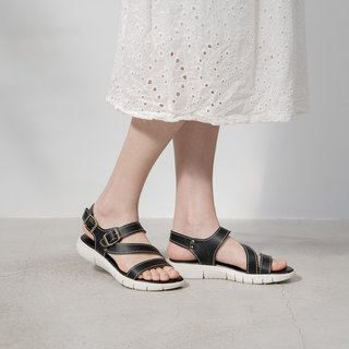 Leather lightweight soft Q sandals _ black