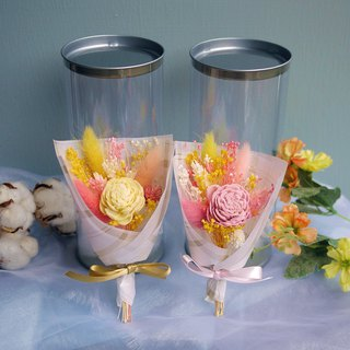 Sweet Time - Powder Sun Rose Powder Yellow Dry Flower Pot Gift Box Mini Hand Tied Small Bouquet