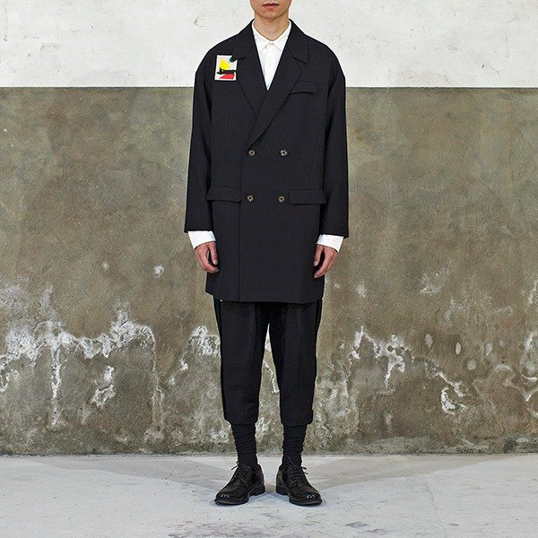 Black Wool Crepe Long Coat