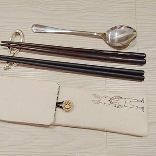 Green tableware storage bag chopsticks bag combination chopsticks special double chopsticks bag painted rabbit Mr. paragraph