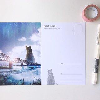 Animal illustration postcards [old iron bridge giant cat and sunrise]