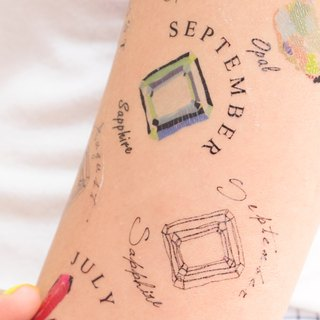 September Birthstone temporary tattoo