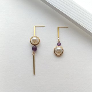 E089 Hope - Brass Amethyst Pearl Earrings