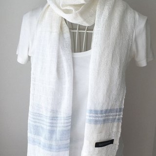 "[Cotton: All season] hand-woven stall ""White Blue"""