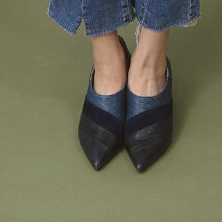 Sliced ​​under the spell Scuffed leather retro fine leather shoes blue