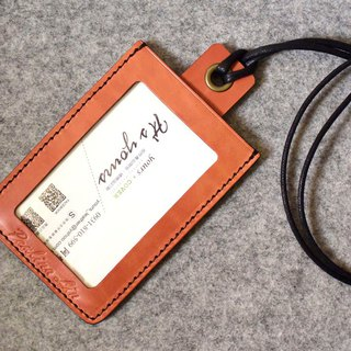 YOURS Card Holder / MRT Card Holder A ─ straight with black wax rope bright orange