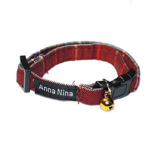 [AnnaNina] pet cat collar big lattice red grain collar XS~M