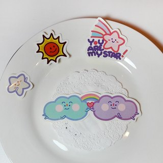 Good sunshine | refreshing QQ hand stickers | small sun small stars cloud children blossoming
