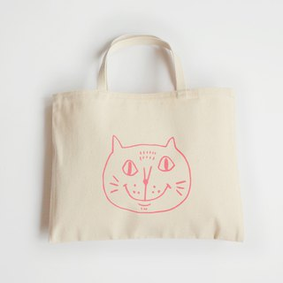 Canvas Tote / Eco Bag / Two Cups Drink Bag / Pouting Cat / Pink