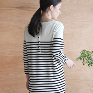 KOOW Jubilee Line French Classic Wool Knit Stripe Dress
