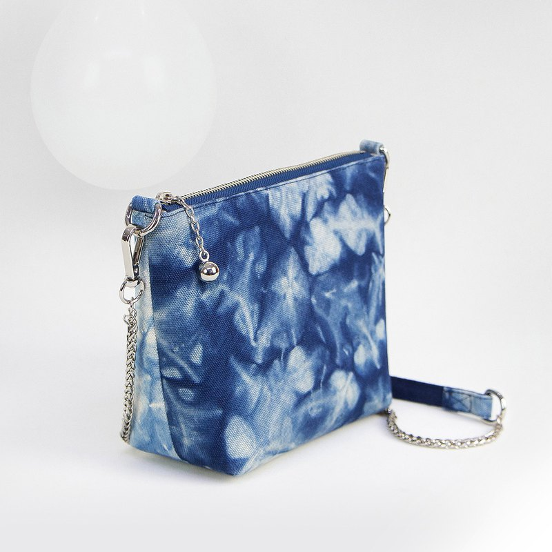 Hand dyed blue dye canvas double-sided hit color chain bag sold merchandise display