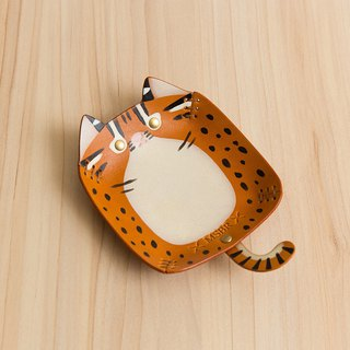 Animal Series - Hand painted leather small cap / jewelry storage / (Taiwan endemic species - Stone Tiger)