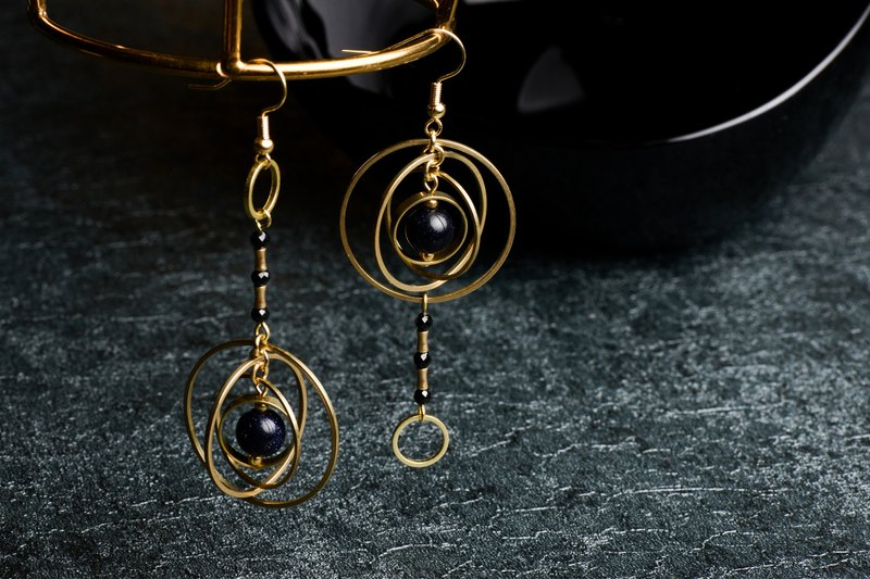 Rover Rover - Brass Natural Ore Galaxy Earrings