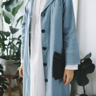 Syd and ling denim collager coat light denim blue