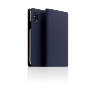 SLG Design iPhone X D+ ICL Luxury Carbon Fiber Top Leather Side Lift Leather Case - Navy