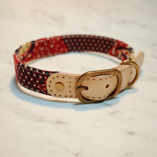 Dog Collar L Retro Japanese Ancient Cloth Red Plaid Yellow Duckling Can be loaded with ropes to buy tag