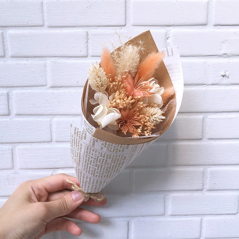 Eight-color party bouquet - sweet orange dry mixed not withered flowers