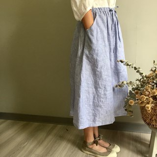 / Eucalyptus / blue pinstripe drawstring long skirt 100% yarn-dyed linen / only one