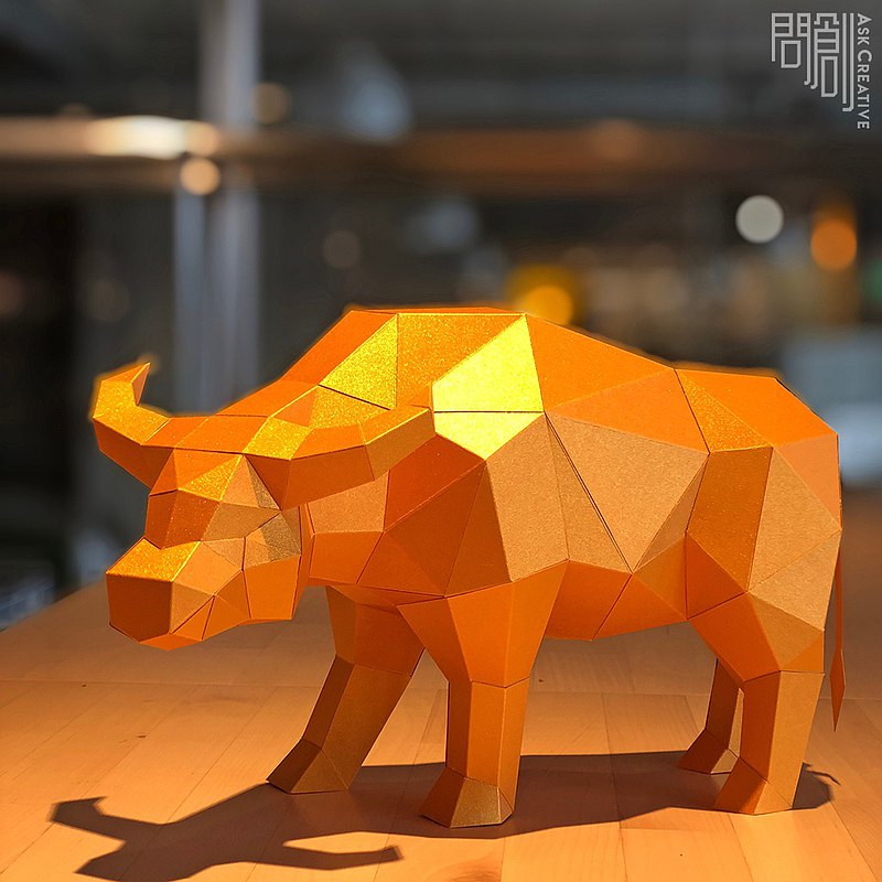 DIY Handmade 3D Paper Model Gift Decoration Festival Series-New Year Golden Buffalo
