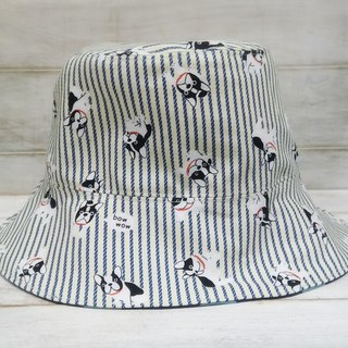Stripe bucket blue little double fisherman hat visor