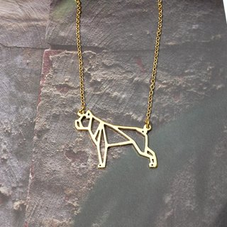 Boxer, Origami, Dog Necklace, Pet Necklace, Gold Plated Necklace, Dog gifts